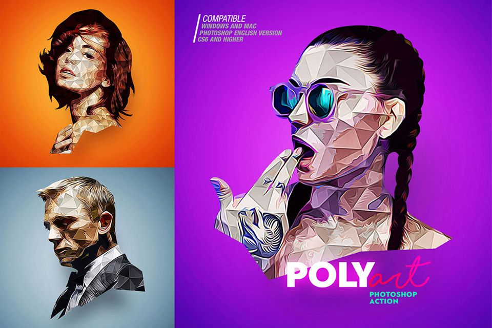 low poly photoshop action